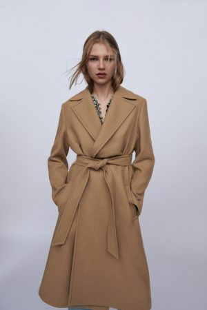 Zara Belted Wool Blend Coat